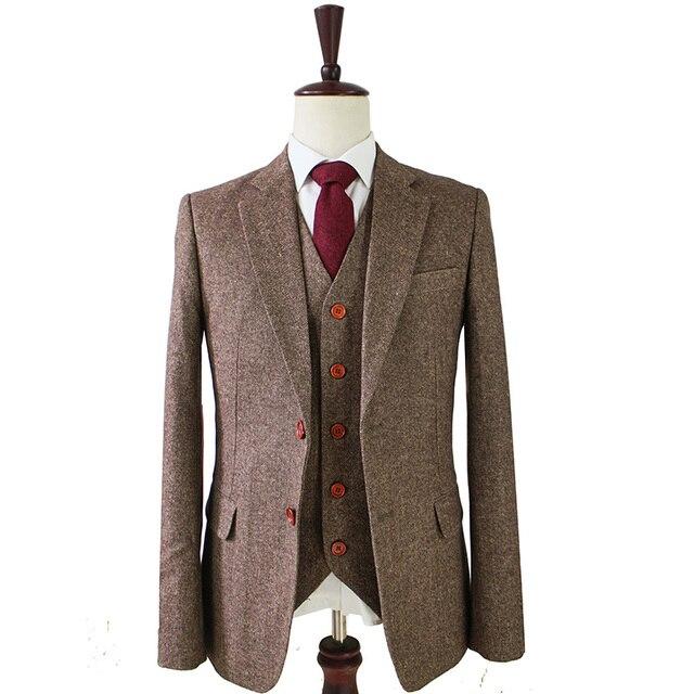 Marrone Classico Tweed su ordine degli uomini slim fit vestito Giacche  Retro signore di stile su f0865eb03f0