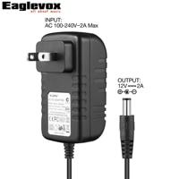 12 V 2A Puissance Adaptateur Négative Center 100-240 V Converter US Plug Un Type Pour Pédale D'effet