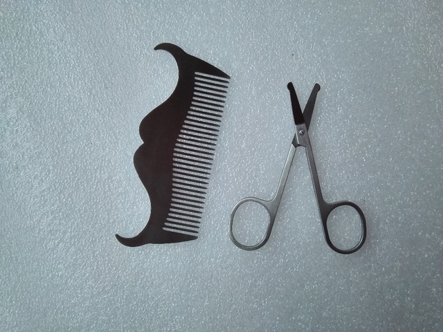 2pcs set beard shaping tool template and scissors kit zdu stainless