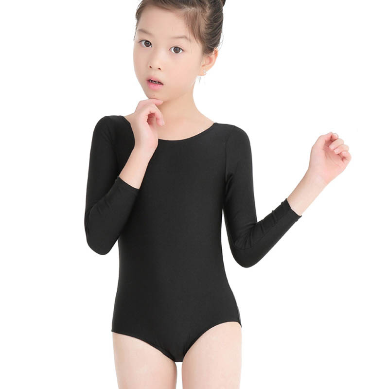 Children's Dancing Outfit Body Ballet Costume For Gymnastics For Teen Girls Lycra Spandex Long Sleeve Sports Dance Round Neck