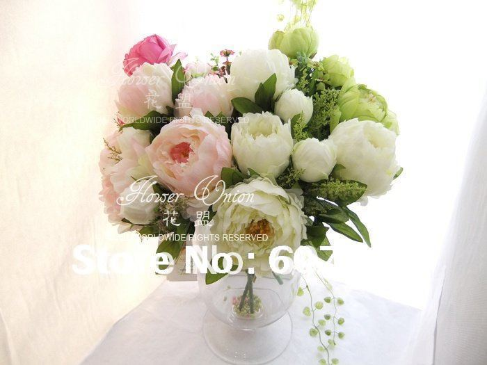 High quality peonybridal bouquetwedding party table centerpiece high quality peonybridal bouquetwedding party table centerpiecechristmas home decoration silk artificial flower arrangement in artificial dried flowers mightylinksfo