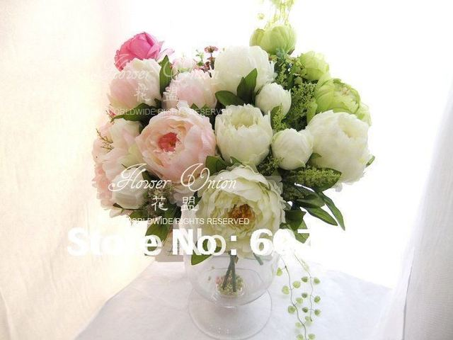 High quality peony bridal bouquet wedding party table centerpiece