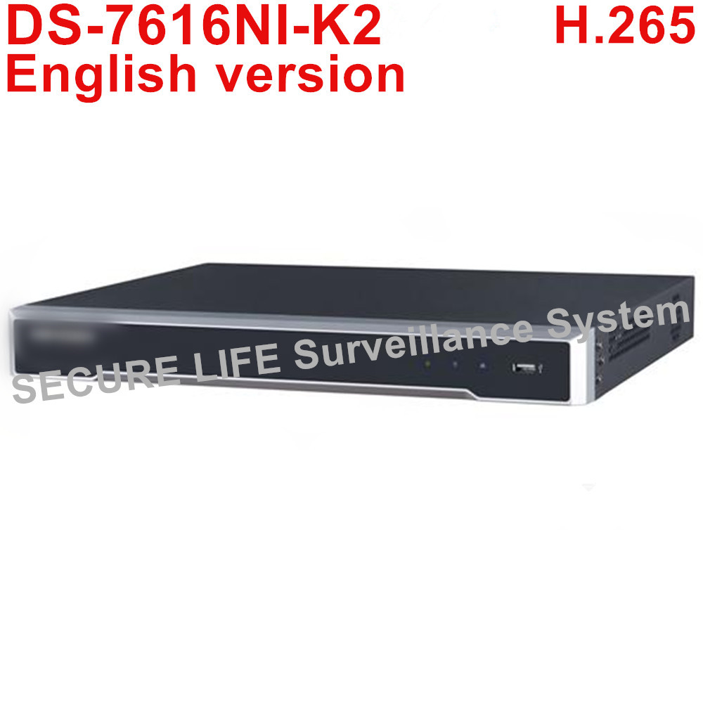 In stock DS-7616NI-K2 English version Embedded 4K NVR 16ch with 2SATA NON POE ports, up to 8MP HDMI VGA output POE NVR H.265 dhl free shipping english version ds 7108ni e1 v w embedded mini wifi nvr poe 8ch for up to 6mp network ip camera