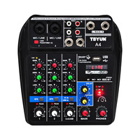 A4 48V Phantom Power 2 Mono 1 Stereo USB Play USB Record Computer Playback Computer Record Bluetooth Mini Audio Mixer