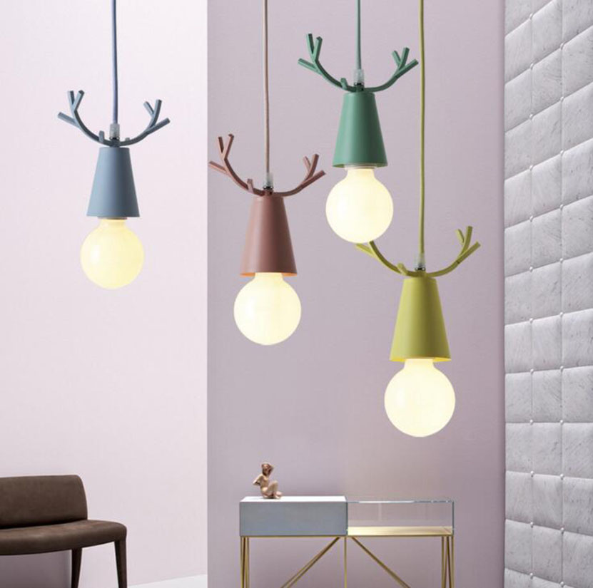 Nordic Minimalism Pendant Light Designer Creative Aluminum Lighting Colorful Fawn Art Lamp Children's Room lamp modalu london mh6151 fawn