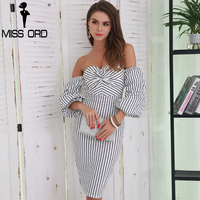 Missord 2017 Sexy Off Shoulder Low Cut Backless Elegant Striped Women Casual Tight Dress FT8524