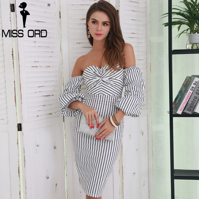 Missord 2018 Sexy Off Shoulder Low-cut Backless  Elegant  Striped Women Casual Tight Dress  FT8524