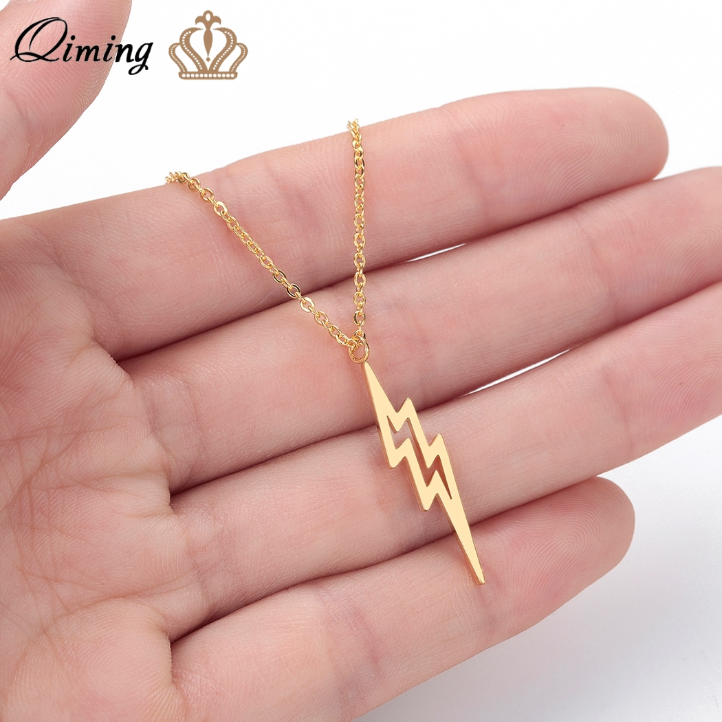 QIMING Thunder Bolt Lighting Necklace Women Men Jewelry Stainless Steel Vintage Tibetan Pendant Necklace Birthday Gift Collier