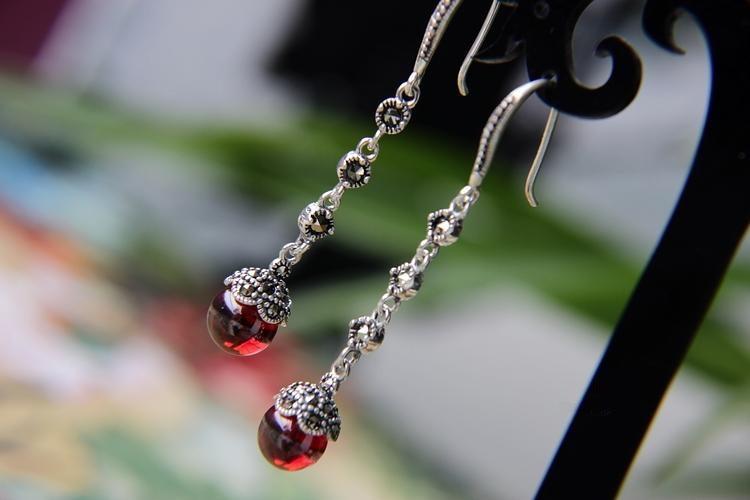 925 bijoux en argent long paragraphe gland boucles d'oreilles, grenat/noir onyx boucles d'oreilles rétro mode