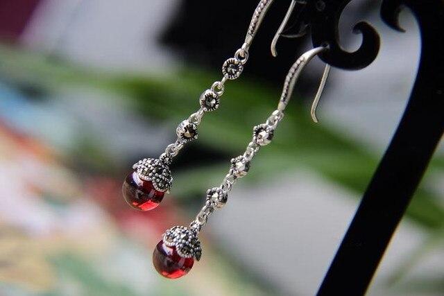 925 серебряные ювелирные изделия длинные пункт кисточка серьги, Гранат / черный оникс серьги ретро мода