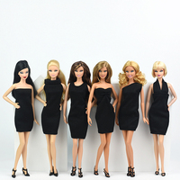 6 Pieces Black Professional Dress Formal Dress for 1/6 Barbie Dolls Clothes Business Wear Party Outfit