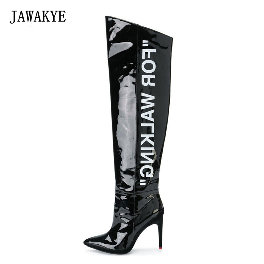 Sexy Black Over The Knee Boots Women Point toe Patent Leather Letter Platform High Heels Thigh High Boots JAWAKYE botines mujer hot boots women sexy black thigh high boots peep toe soft leather back zip high heels over the knee boots gladiator sandal boots