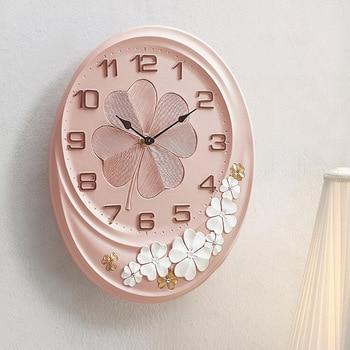 3D Pink Flower Special American Wall Clock Mute European Creative Quartz Watch Decoration Wall Clocks Home Decor Wandklok 50w282
