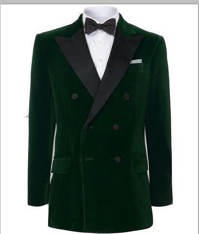 2018 Tailor Green Burgundy Velvet Men Suit Prom Double Breasted Tuxedo Slim Fit 2 Piece Groom Wedding Suits Custom Blazer Terno