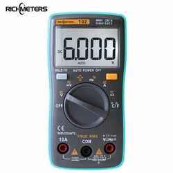 ريتشميتر 102 المتعدد 6000 التهم الضوء الخلفي التيار المتناوب/تيار مستمر مقياس التيار الكهربائي الفولتميتر أوم تردد ديود درجة الحرارة