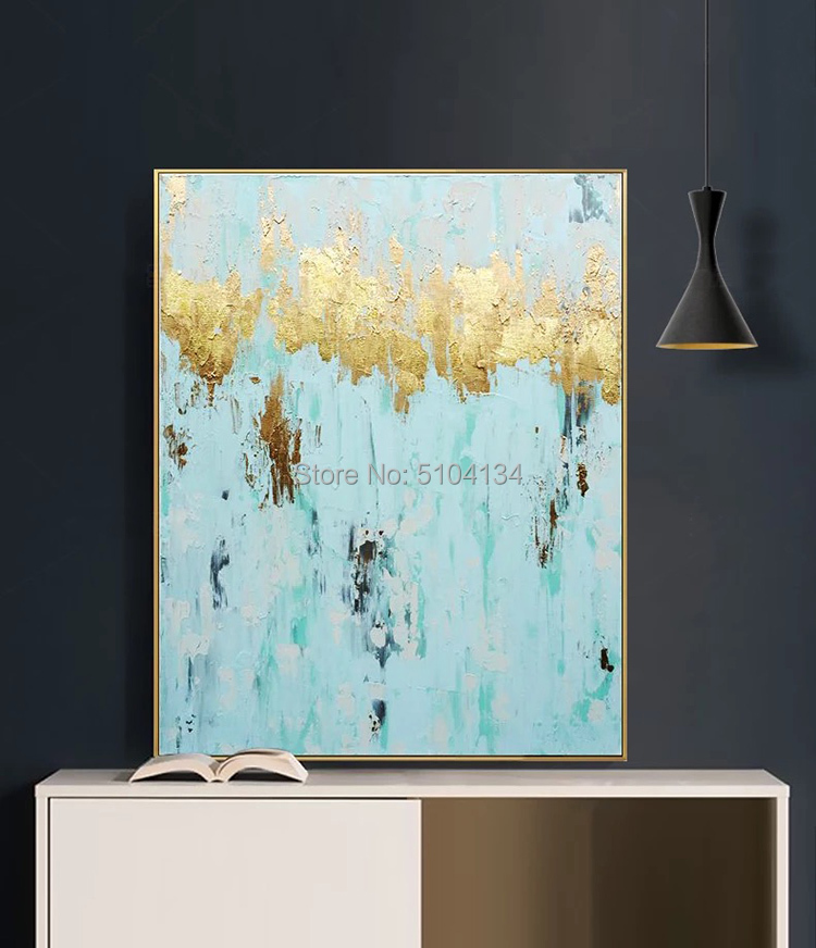 luxury gold foil decorative oilpainting hand-painted abstract oil painting modern living room decoration