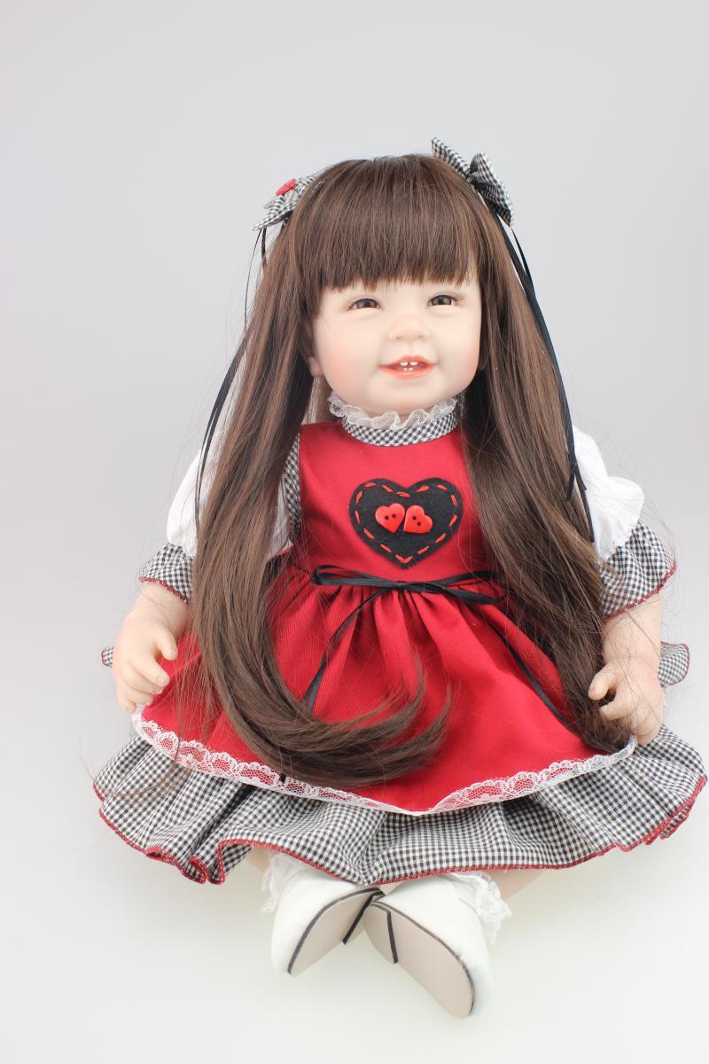 NPKDOLL 55 CM doux Silicone fille jouet Reborn bébé poupée cadeau pour enfants bebe rouge vêtements robe enfants cadeau bonecas livraison gratuite