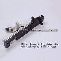 Miter Gauge And Box Joint Jig Kit With Adjustable Flip Stop KF719