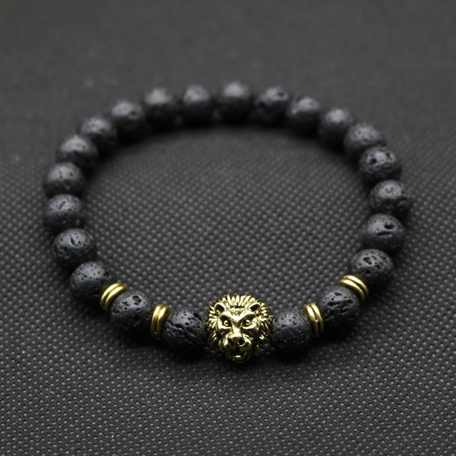 Whole Antique Gold Color Buddha Leo Lion Head Bracelet Black Lava Stone Beaded Bracelets For