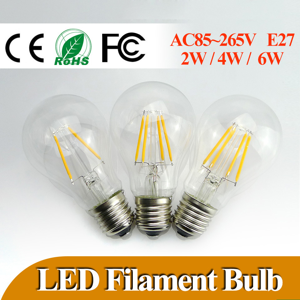 buy lowest price e27 led filament bulb 2w 4w 6w 360 degree bulbs 600lm warm. Black Bedroom Furniture Sets. Home Design Ideas