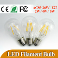 Lowest Price E27 LED Filament Bulb 2W 4W 6W 360 Degree Bulbs 600lm Warm/Cold White Bulbs Lamp for Indoor/Kitchen AC85-265V