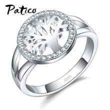 d5d92b05e7ca PATICO Venta caliente anillo de dedo Bijoux de Plata de Ley 925 Plata plata  Árbol de la vida AAA Zircon joyería de la boda para .