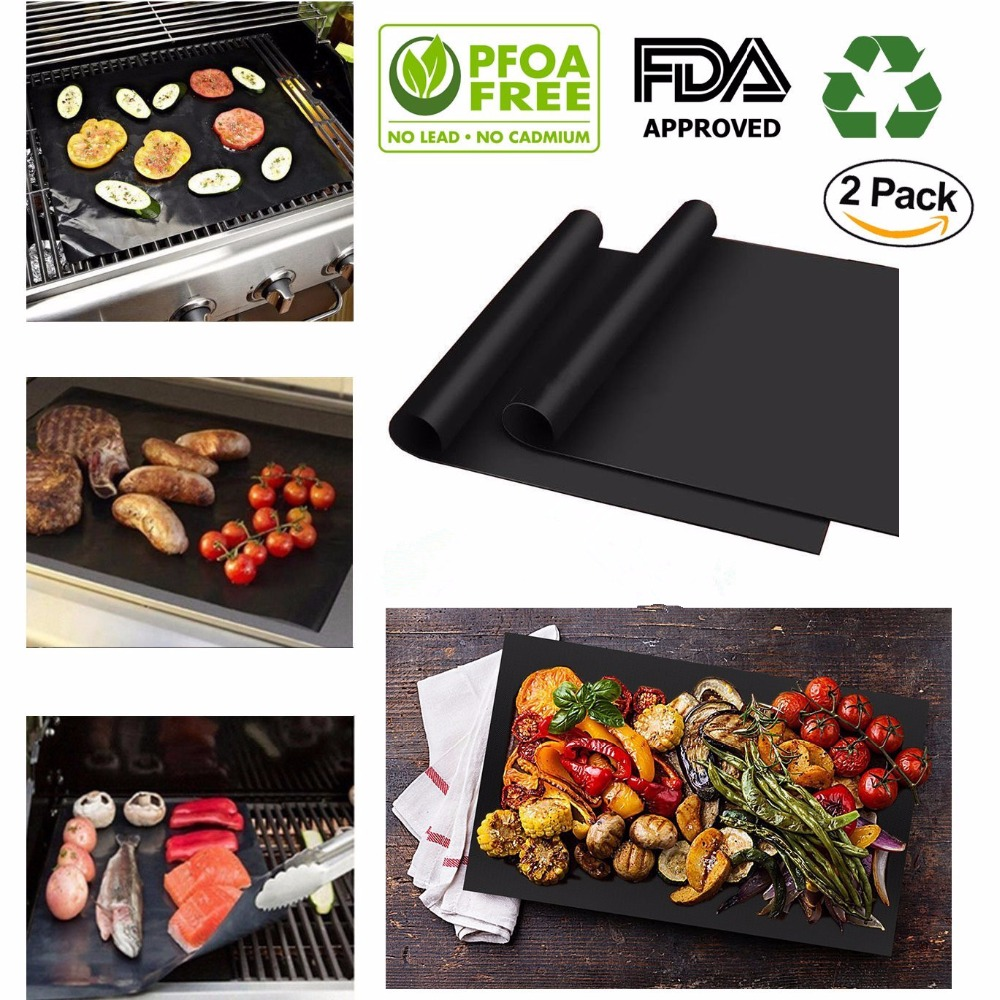 2 pcs/set Reusable Non-Stick BBQ Grill Mat Pad Baking Sheet Meshes Portable Outdoor Picnic Cooking Barbecue Tool BBQ Accessories