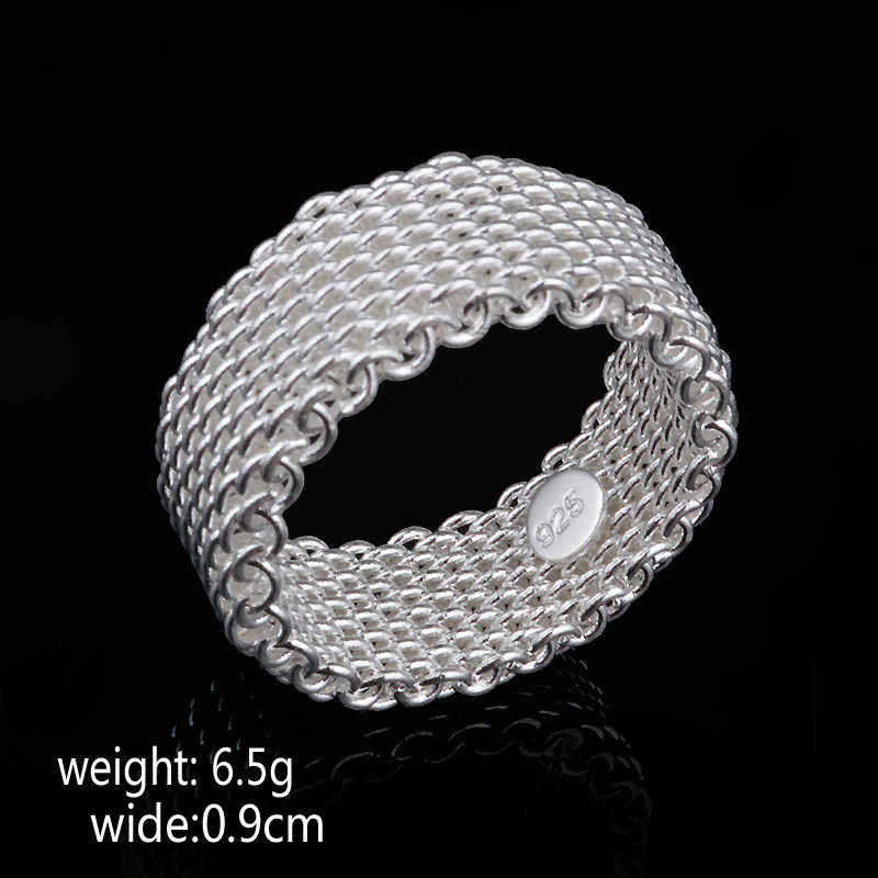 Fashion Ring 925 Sterling Silver color Jewelry Woven Mesh Belt Reticulocyte Rings For Women Anillos Mujer Bague Anel Bague Aneis