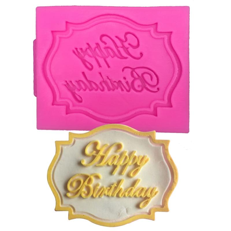 Tarjeta de feliz Cumpleaños Torta Que Adorna Forma Moldes de la Torta de Chocola