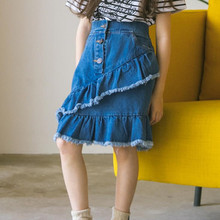 DFXD Korean Children Girl Denim Blue Skirt 2018 Summer High Quality Cotton Button Teens Girls Jeans Kids Fashion