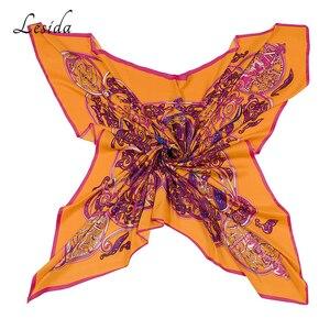 Image 4 - 2020 VINTAGE Big Square Hijabs สุภาพสตรียี่ห้อ Twill ผ้าพันคอ Shawl พิมพ์สัตว์สีเหลือง Hijabs ขายส่ง 130*130 ซม.1331 M
