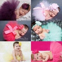 Pack Baby Тюлевая юбка-пачка повязка на голову с цветами для новорожденных Одежда для маленьких девочек юбки Pettiskirt Костюм для фото наряды