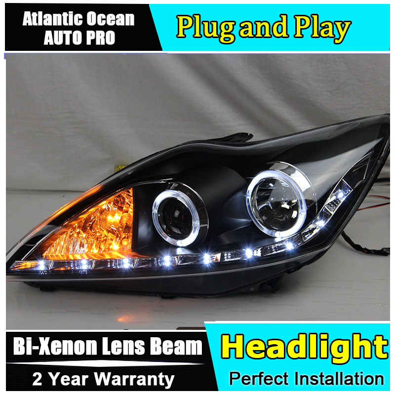 цена на car styling For Ford Focus headlights angel eyes 2009 2010 2011 For Ford Focus Bi-xenon Double lens HID KIT led drl head lamps