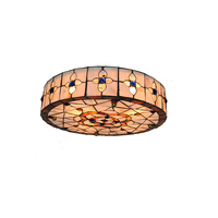 Vintage Tiffany Style Stained Glass Big Flush Mount Lamp Baroque Shell Lampshade Living Room Bedroom Ceiling