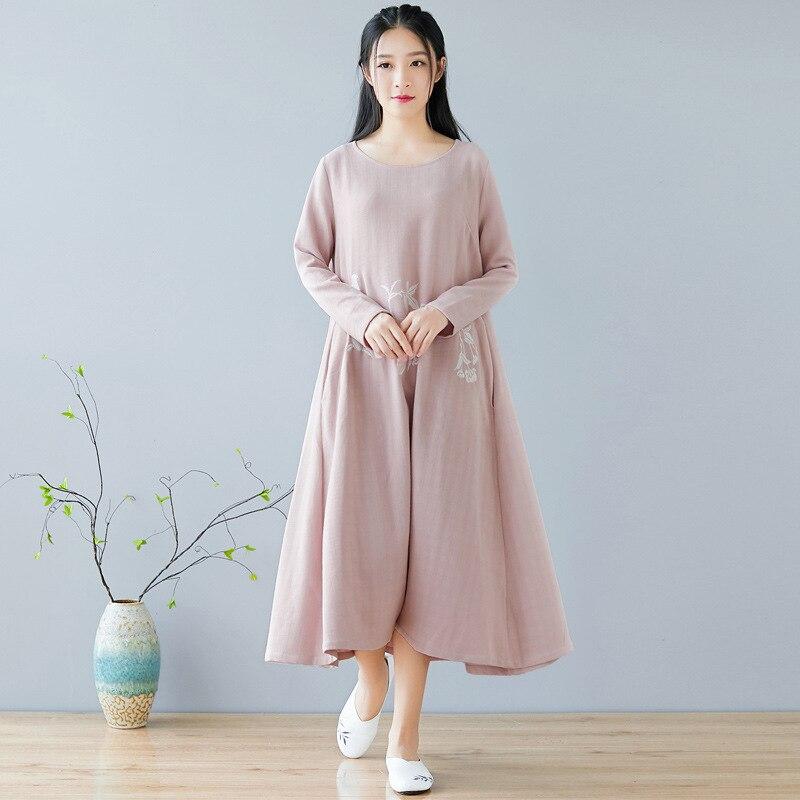 Automne hiver nouvelle robe chinoise col rond broderie rétro quotidien coton linge Art femmes vêtements rose - 3