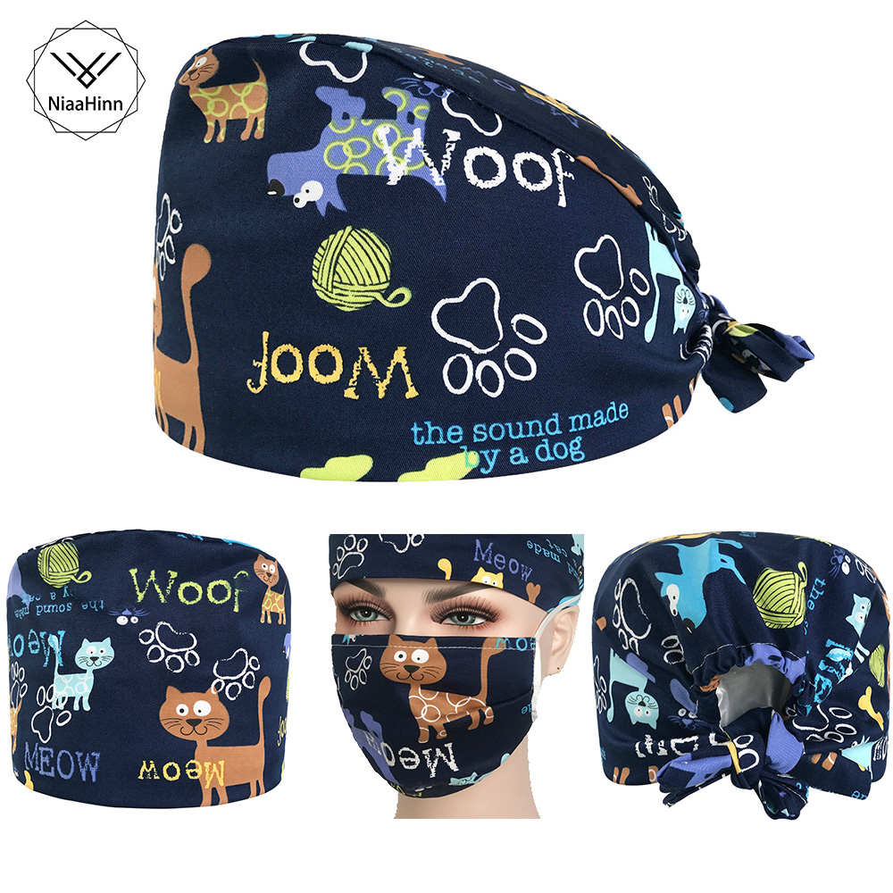 Women Print Medical Surgical Surgery Hat Factory Outlet Unisex Medical Beauty Salon Cap Man Doctor Nurses Scrub Caps+ Masks