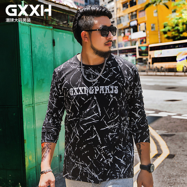 0502046f908 GXXH Autumn Tide Big Size Men s Trend Fat Large Size Cool Printed Fat Guy  Big Size Long Sleeve T-shirt Male Oversized 7XL 6XL