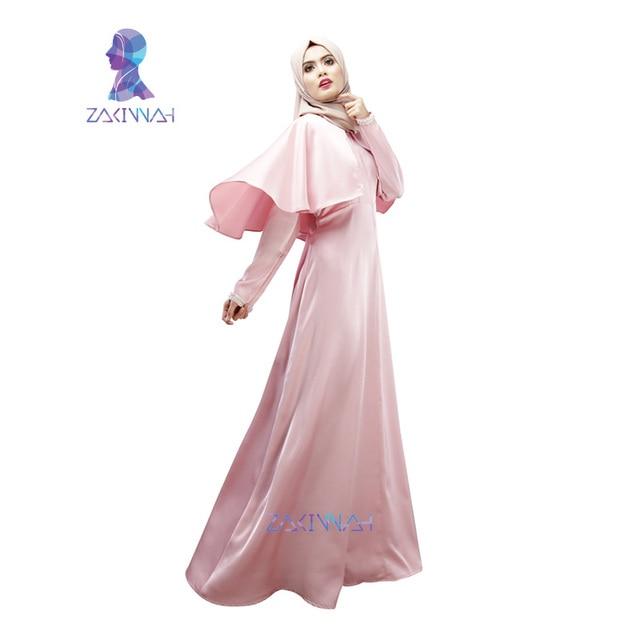 ZW001 Ложные две пьесы мусульманин с длинным рукавом абая макси платье 3 цветов атласная палантин легкость женщины дубай абая исламской одежде