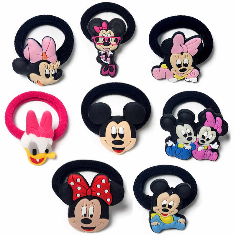 8PCS Mickey Minnie Hairbands Kids Scrunchy Hair Band Elastic Hair Accessories Girl's Hair Rope Favor Kid Headwear