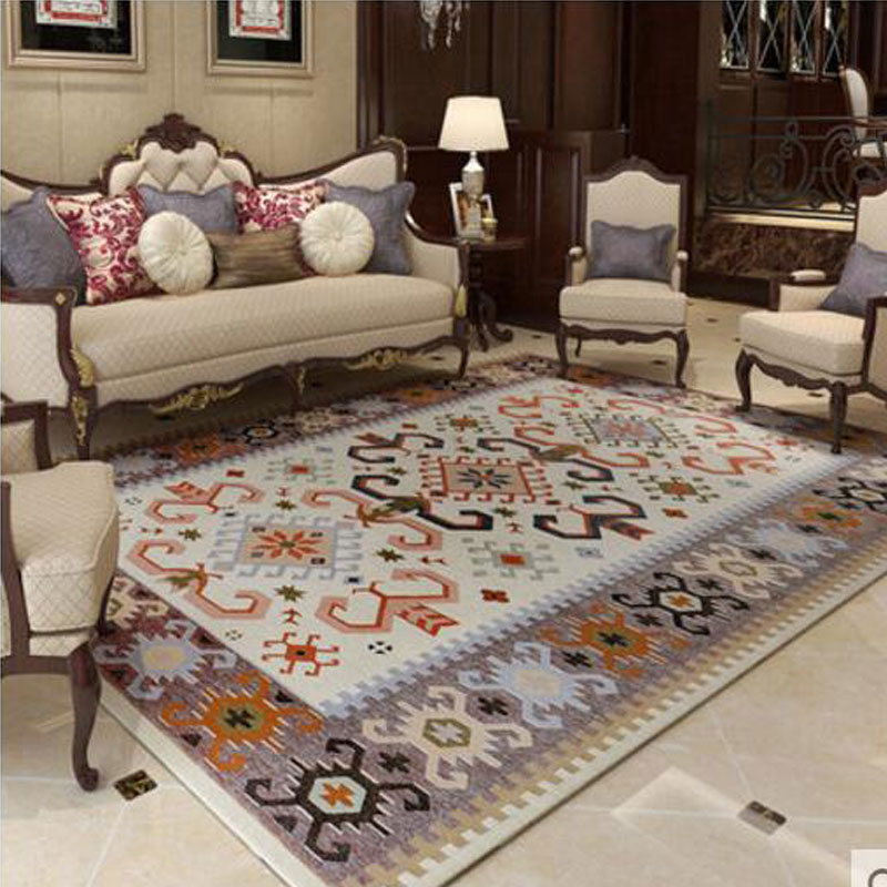 Big Size 160x230cm Mediterranean Blue Thicken Carpet An Tiskid Jacquard Carpets And Floor For Living Room Coffee Table