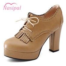 d07d7fdc Nasipal grueso tacón alto redonda dedo del pie mujeres Zapatos Vogue retro  borla lasing Tacones altos Bombas negro beige albaric.