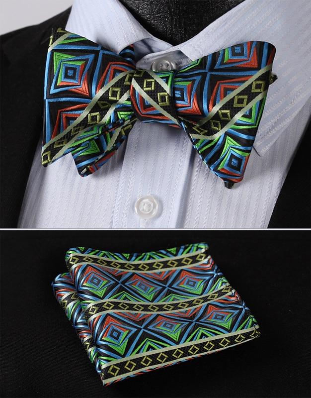 BC4012B Blue Green Check Classic 100%Silk Jacquard Woven Men Butterfly Self Bow Tie BowTie Pocket Square Handkerchief Suit Set