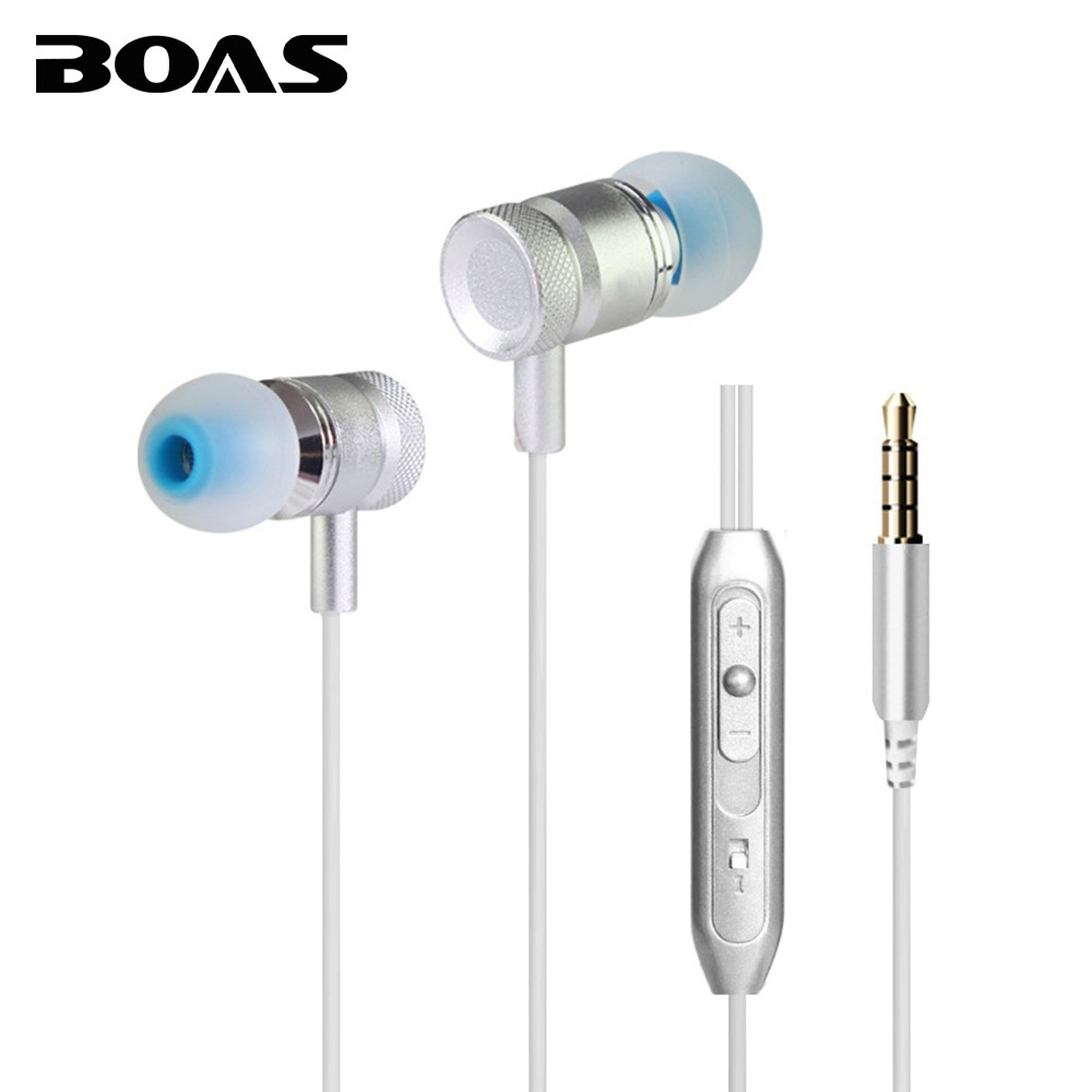 BOAS Wired Earphones With Microphone In-ear Headphone Music Super Stereo Sound Earpiece Headset 3.5mm Jack for Iphone Samsung PC keeka mic 103 stylish universal 3 5mm jack wired in ear headset w microphone red blueish green