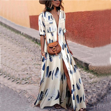 Ankle Length Boho Bohemian Dress Summer Women Floral Feather Printed Long Dress Half Sleeve Turn Down Collar Maxi Dresses