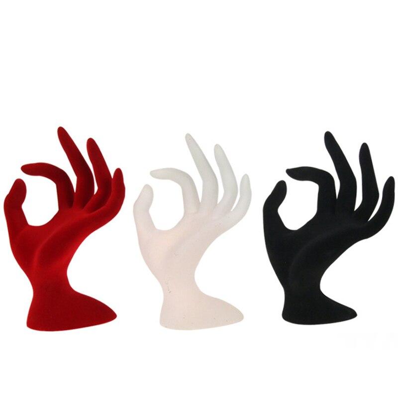 4 Colours Jewelry Display Stand Velvet Hand Finger Shape Display Stands Ring Bracelet NecklacePlastic Holder Rack 17*11cm(H*W)