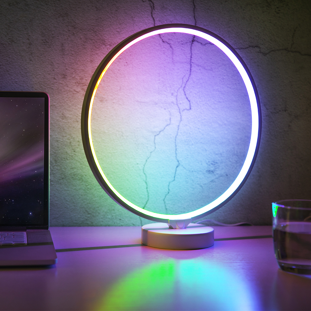 SUNY Circle Mood Lamp LED Nightstand Lamp with 4 Brightness Levels 6 Colorful Lighting Effect Modes Remote ControlSUNY Circle Mood Lamp LED Nightstand Lamp with 4 Brightness Levels 6 Colorful Lighting Effect Modes Remote Control
