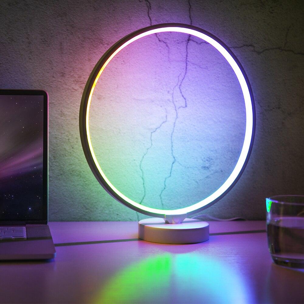 suny circulo conduziu a lampada de cabeceira lampada moderna lampada de cabeceira regulavel branco quente colorido