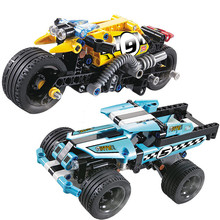 2018 new DECOOL blocks Technic Stunt Bike Stunt Truck Building Blocks Sets Bricks Kids Model Kids educational Toys for children(China)