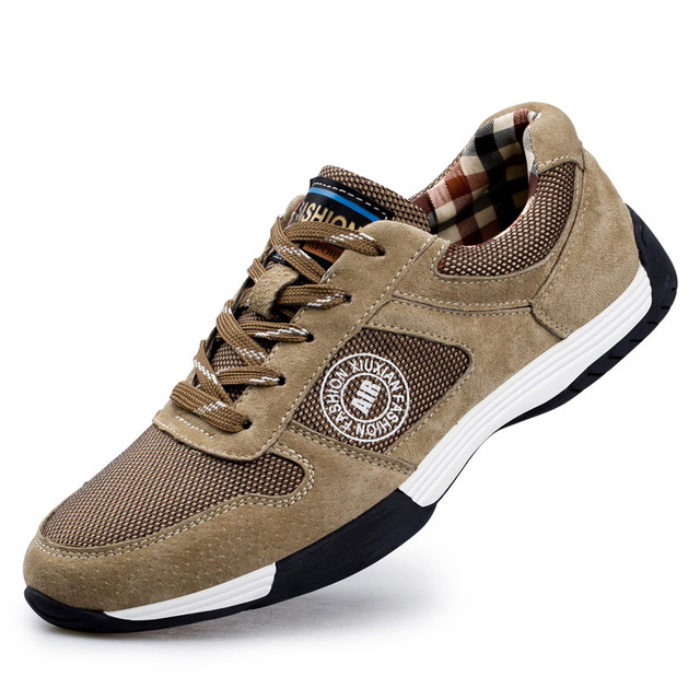 2017Spring Summer comfortable men running shoes sneakers Genuine Leather men sports shoes good quality outdoor walking shoes men