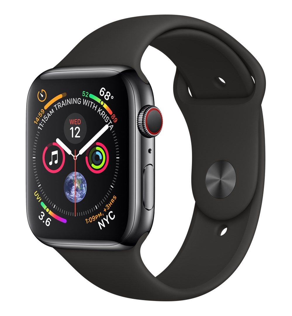 Apple Watch Watch Series 4, OLED, Touchscreen, GPS (satellite), Cellular, 47.9 g, Black